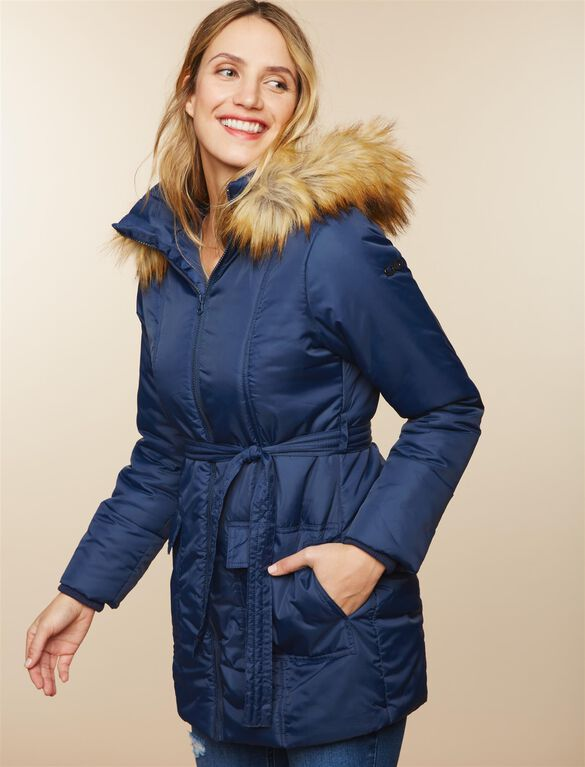 Modern Eternity 3 In 1 Belted Maternity Puffer Coat, Navy