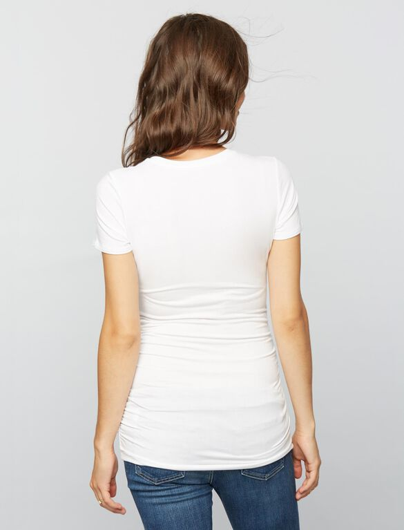 V Scoop Neck Side Ruched Maternity Tee, Corporate White