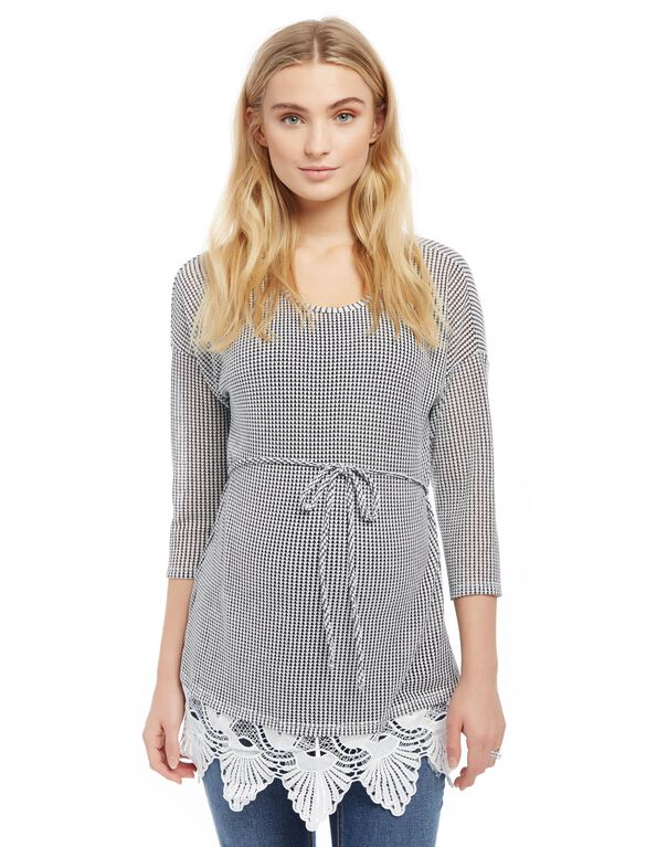 Lace Trim Crochet Maternity Shirt, Grey