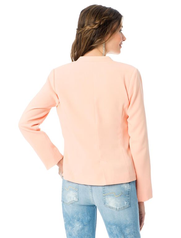 Open Front Crepe Maternity Jacket, Melon
