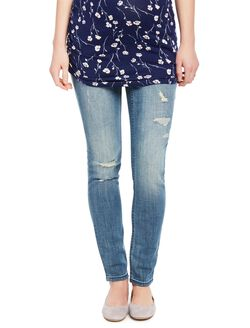 Indigo Blue Premium Secret Fit Belly Skinny Leg Maternity Jeans, Medium Wash