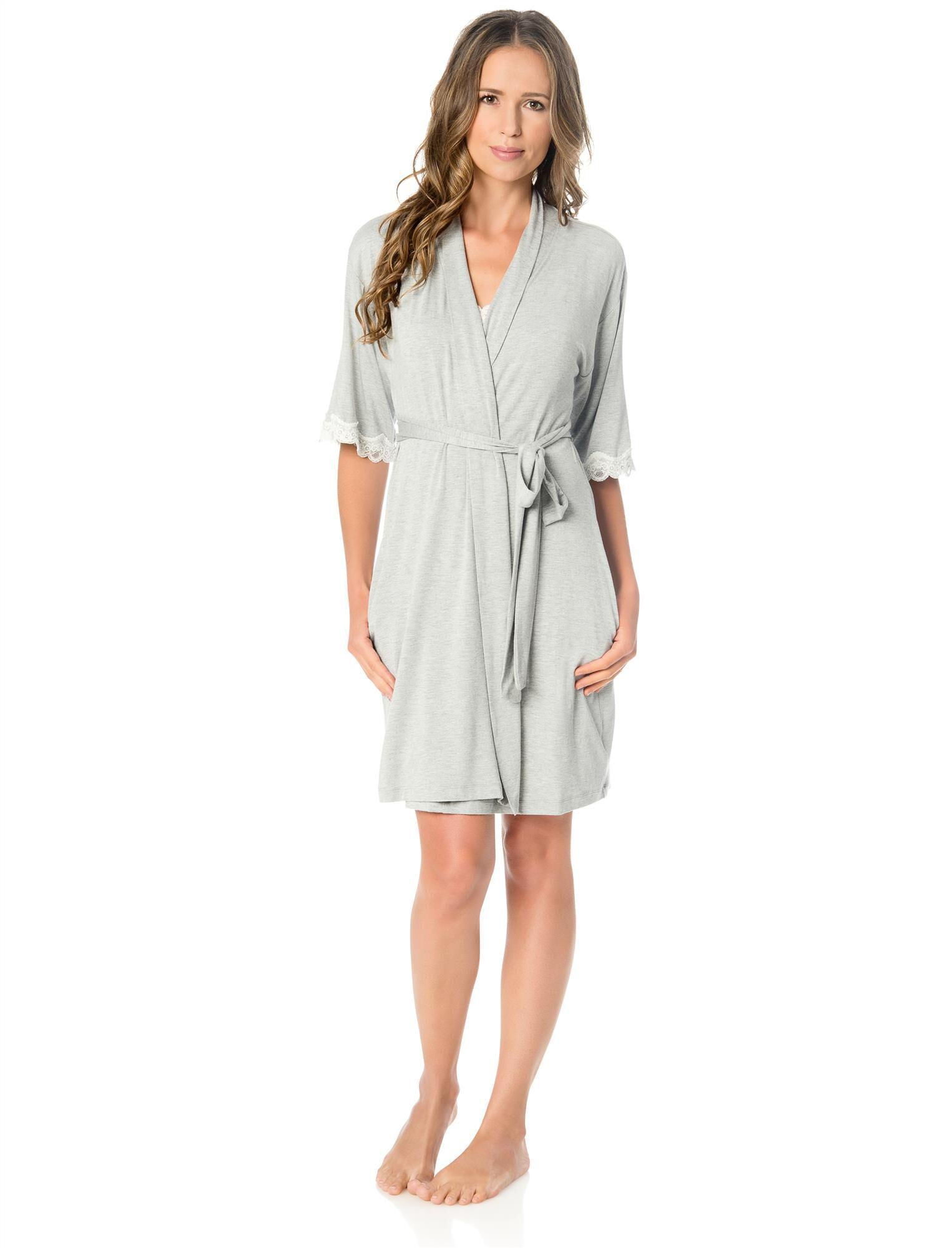 Clip Down Nursing Nightgown and Robe- Grey