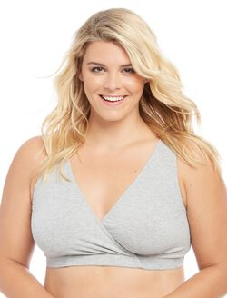 Plus Size Wrap Nursing Sleep Bra, Grey