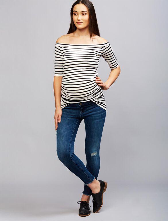 Isabella Oliver Nia Maternity Top, Stripe Blk/Wht