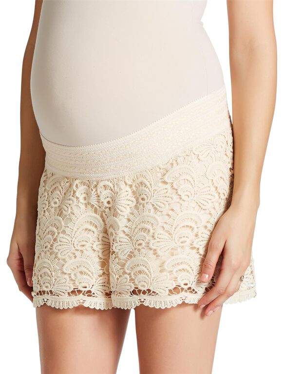 Jessica Simpson Secret Fit Belly Smocked Waist Maternity Shorts, Ivory