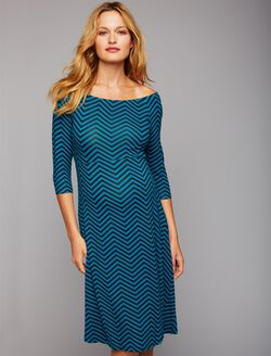 Chevron Off The Shoulder Maternity Dress, Green Chevron Print