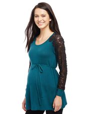 Lace Sleeve Maternity Sweater, Deep Teal