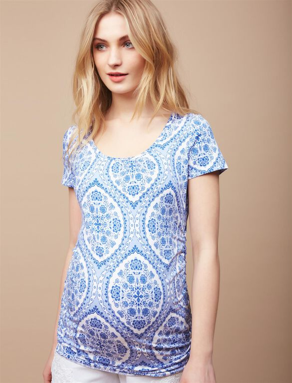 Side Ruched Maternity Tee, Blue/Yellow Paisley