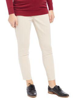 Secret Fit Belly Twill Skinny Leg Maternity Crop Pants, Oat
