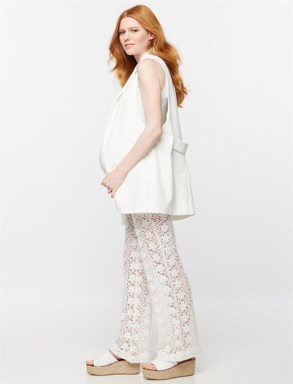 Secret Fit Belly Lace Wide Leg Maternity Pants, White