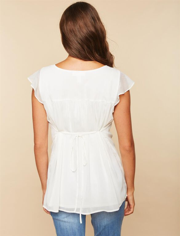 Embroidery Maternity Top, Egret
