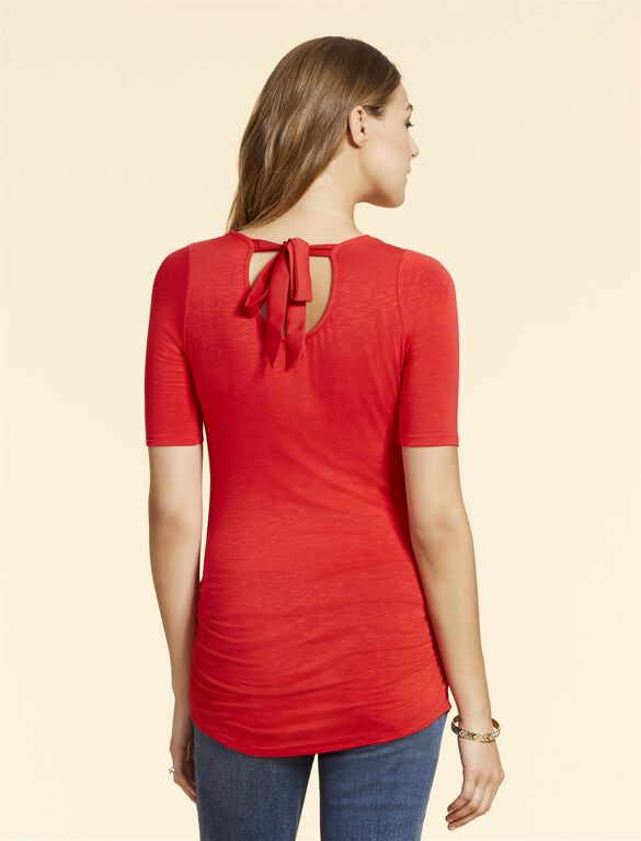 Jessica Simpson Knot Back Maternity T Shirt, Red