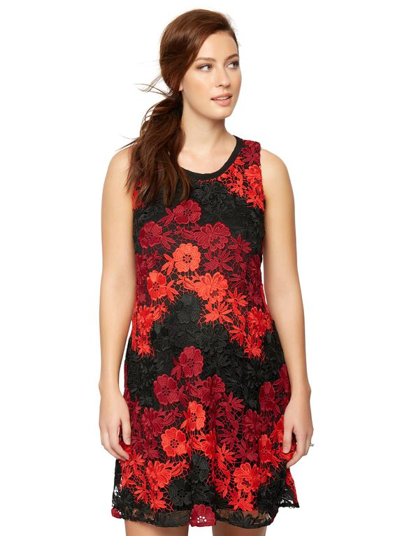 Taylor Lace Black Red Maternity Dress, Red