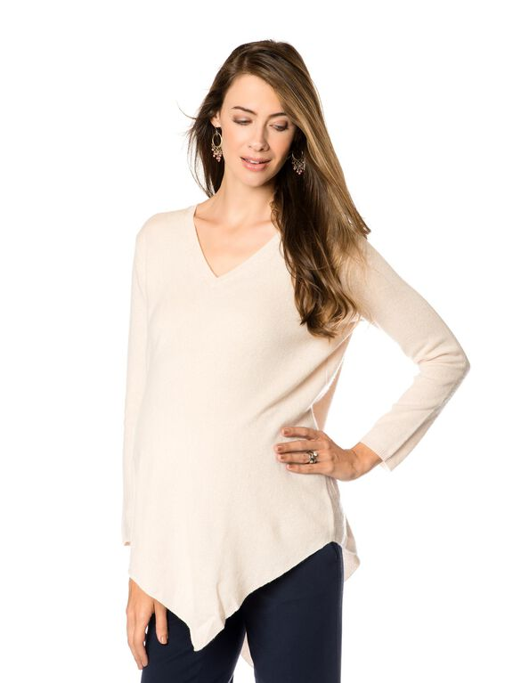 Bias Cut Maternity Sweater, Heather Parchment