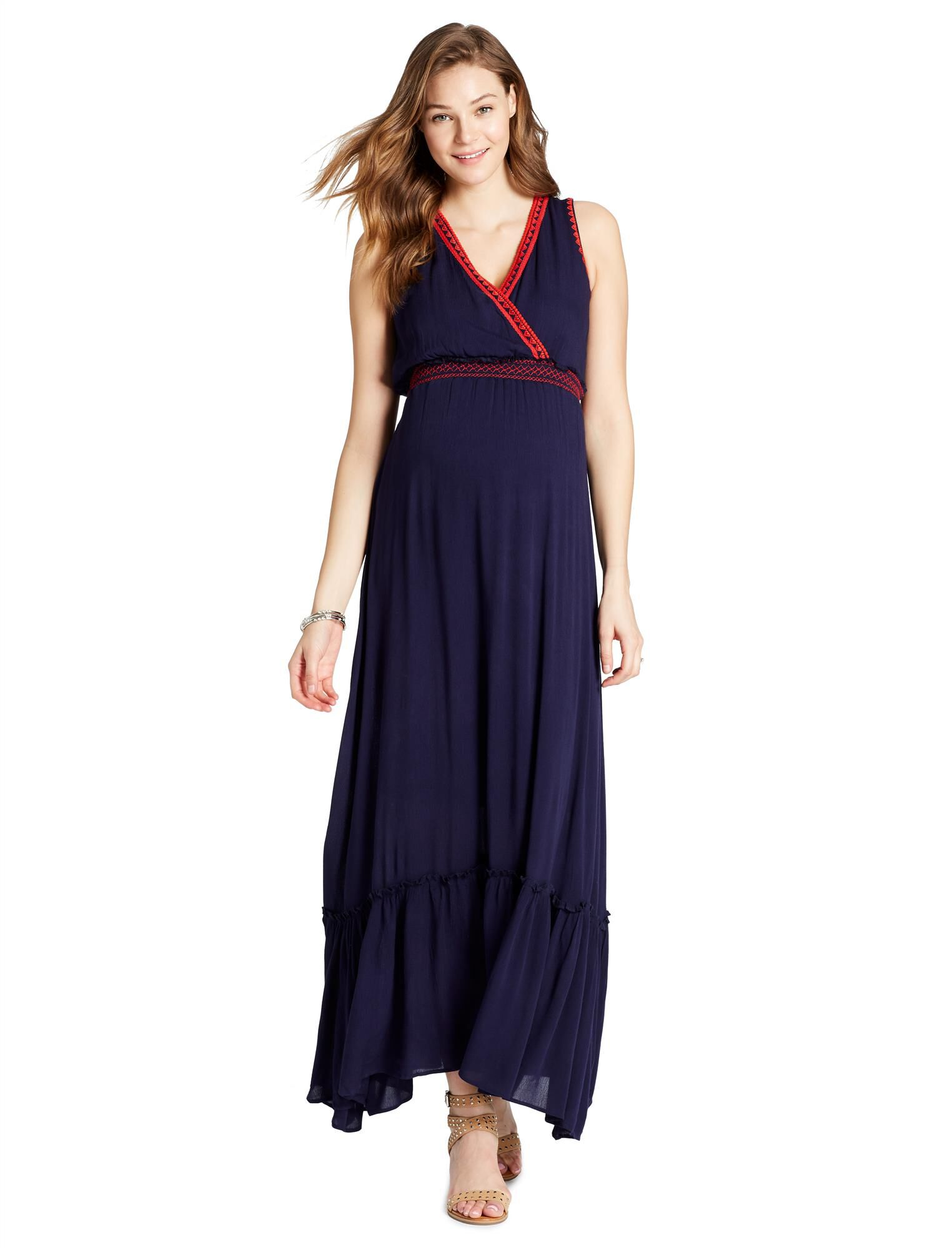 Jessica Simpson Decorative Trim Maternity Dress