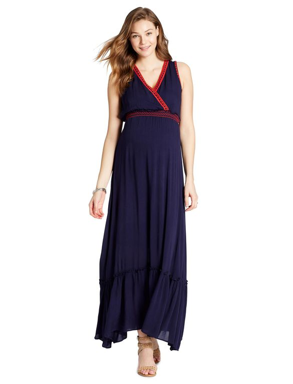 Jessica Simpson Decorative Trim Maternity Dress, NAVY