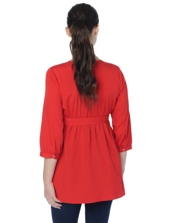 Convertible Sleeve Wrap Maternity Top, Red