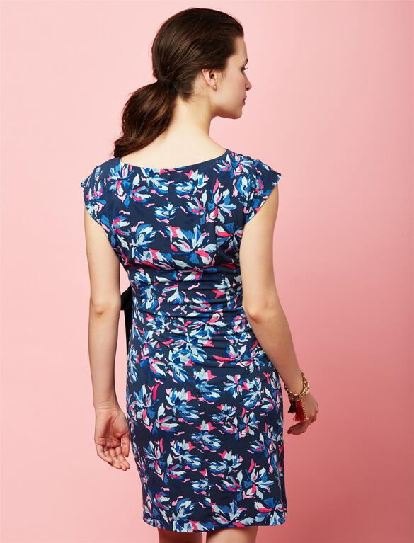 Taylor Side Tie Maternity Dress- Floral, Navy Floral