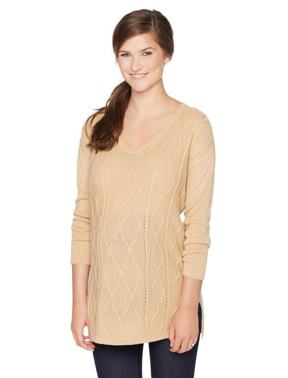 Cable Knit Maternity Sweater, Oatmeal