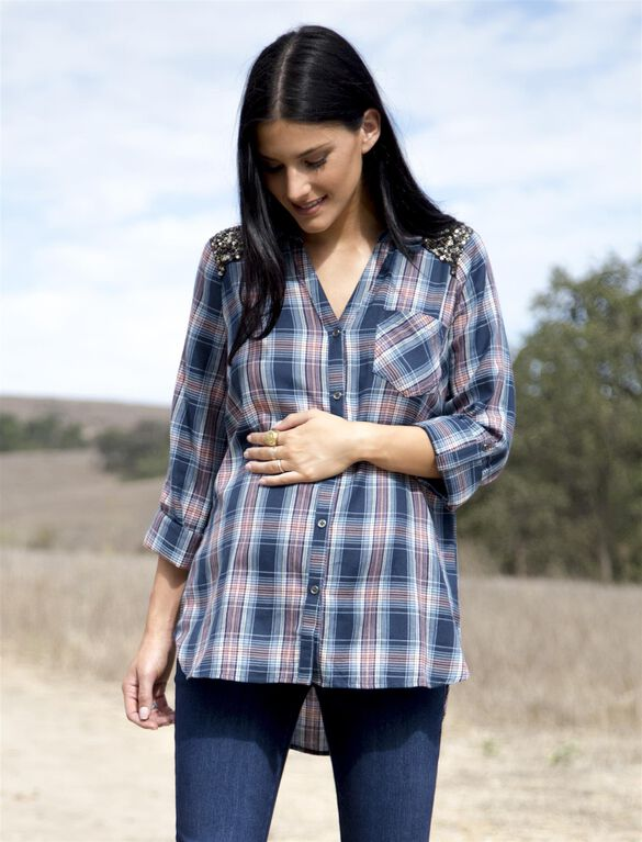 Wendy Bellissimo Sequin Maternity Top, Red Plaid