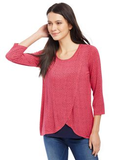 Lift Up Mock Layer Nursing Top- Dot Print, Rouge Red Dot