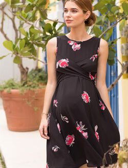 Cross Front Maternity Dress, White Floral Print