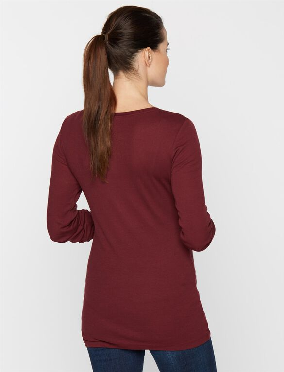 Long Sleeve Maternity Tee, Bordeaux