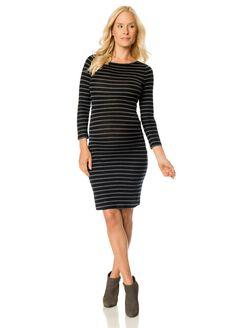 BCBGMAXAZRIA Stripe Maternity Dress, Grey/Black