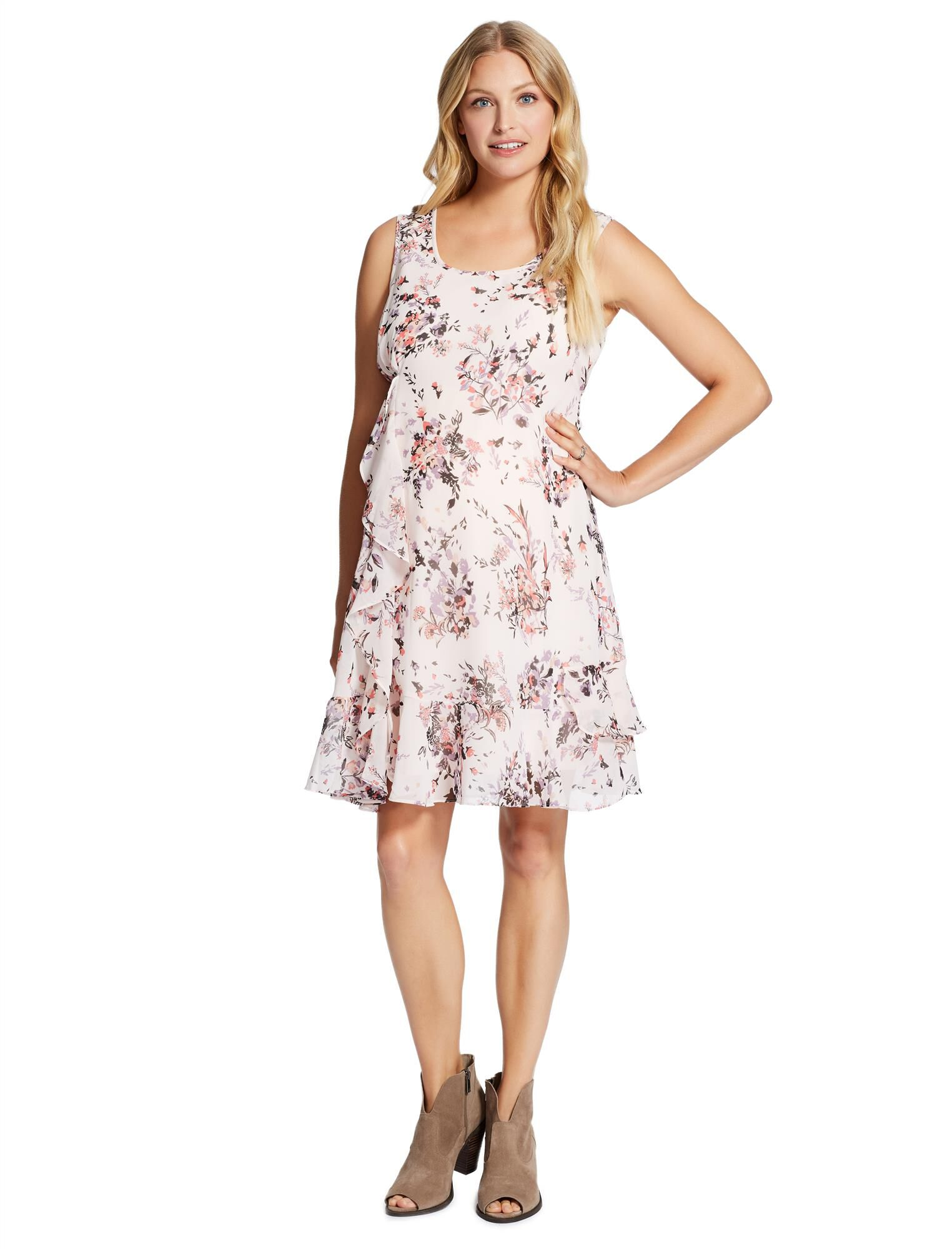 Jessica Simpson Ruffle Front Maternity Dress