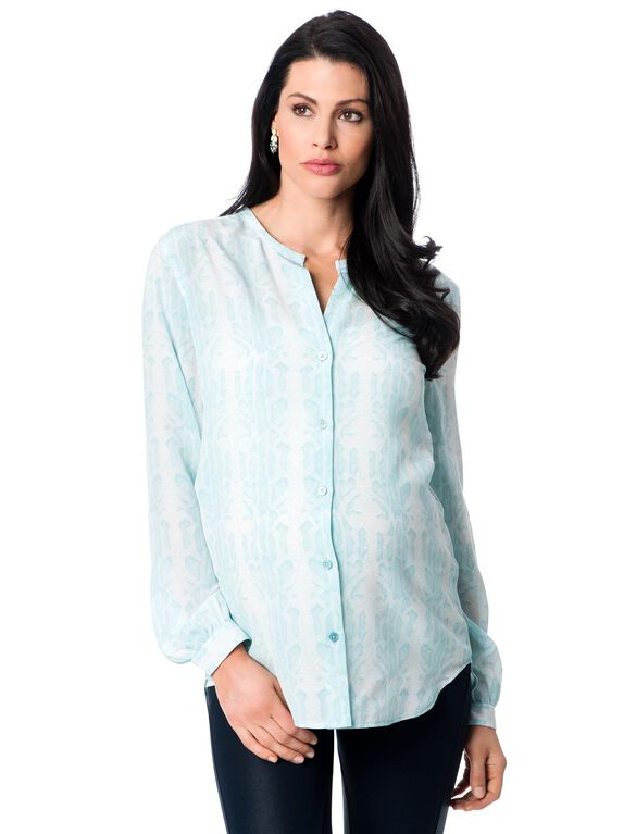 Equipment Button Front Maternity Shirt, White/Dusty Blue