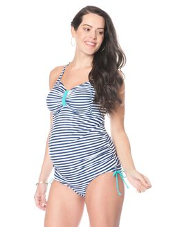 Navy/White Stripe Cross Back Maternity Tankini Swimsuit, Stripe