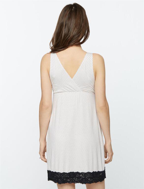 Lace Trim Dot Print Nursing Nightgown, Dot Print