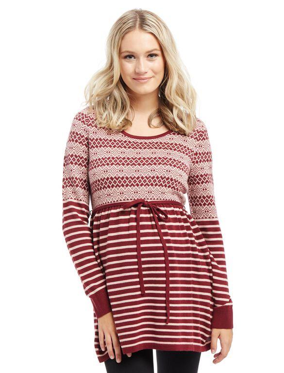 Fairisle Babydoll Maternity Sweater, Zin/Pink