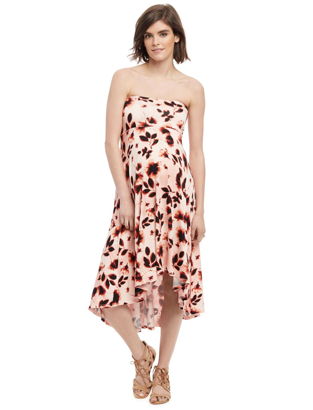 Strapless high low hem maternity dress pink floral destination strapless high low hem maternity dress pink floral pink floral ombrellifo Image collections