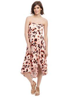 Strapless High-low Hem Maternity Dress- Pink Floral, Pink Floral