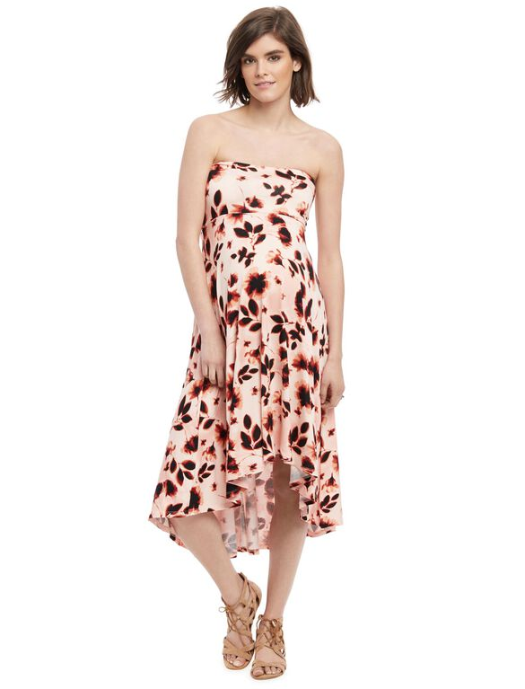 Strapless High-low Hem Maternity Dress- Pink Floral, Pink Floral