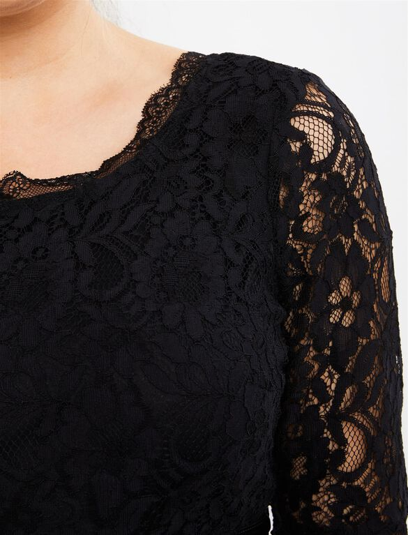 Lace Fit And Flare Maternity Dress, Black