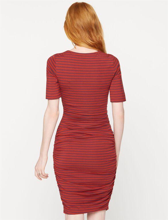 Elbow Sleeve Stripe Maternity Dress, Berry Kiss/Copper