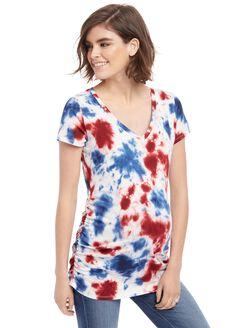 Printed Side Ruched Maternity Tee- Tie Dye, Tie Dye