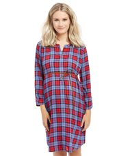 Tie Front Maternity Dress, Cranberry Plaid
