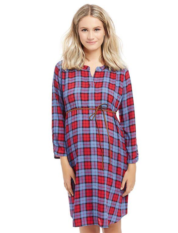 Tie Front Maternity Dress, Cranberry Plaid