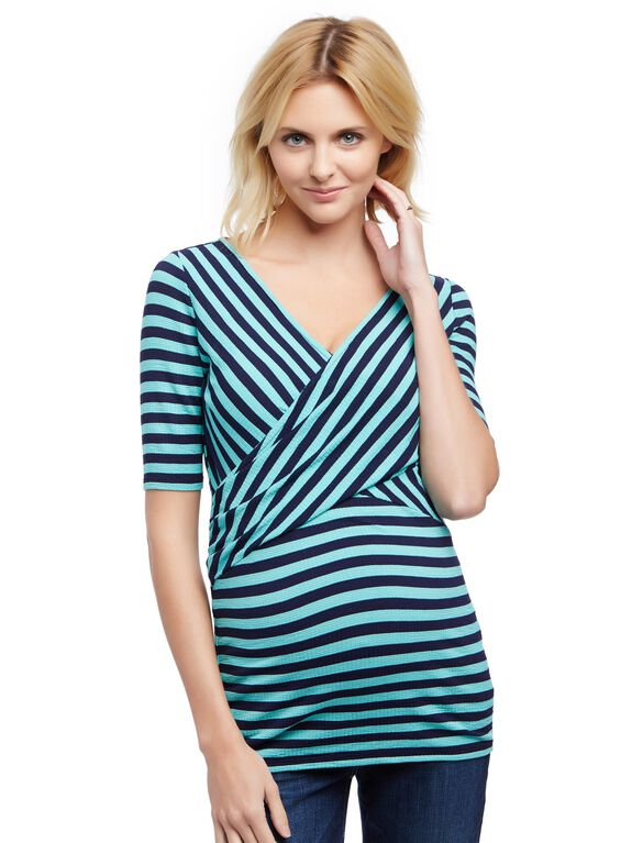 Striped Cross Front Maternity Shirt, Aqua/Navy