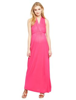 Surplice Neckline Maternity Maxi Dress- Fuchsia, Fuchsia