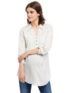 Front Pocket Maternity Shirt- Dot Print, Cream/Black Dot
