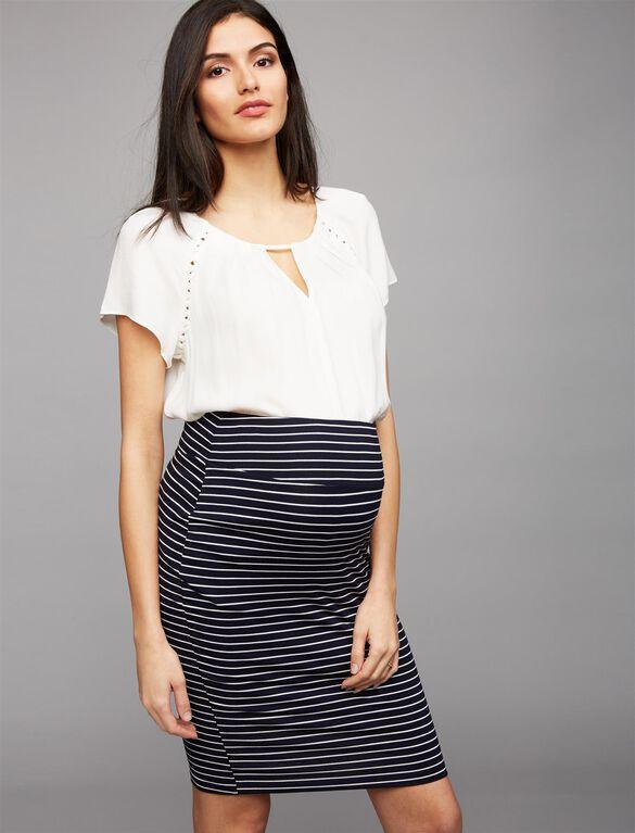 Ripe Mia Maternity Pencil Skirt, Navy Stripe