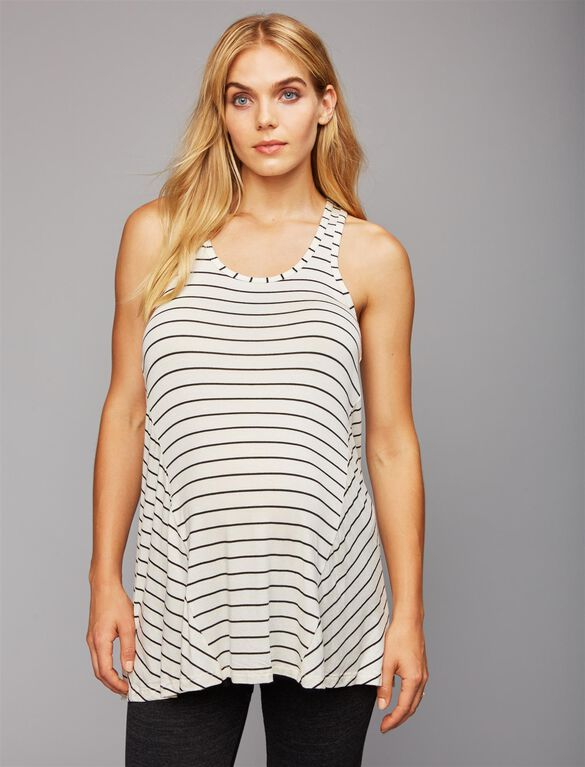 Beyond The Bump Super Soft Maternity Tank Top, White/Black Stripe
