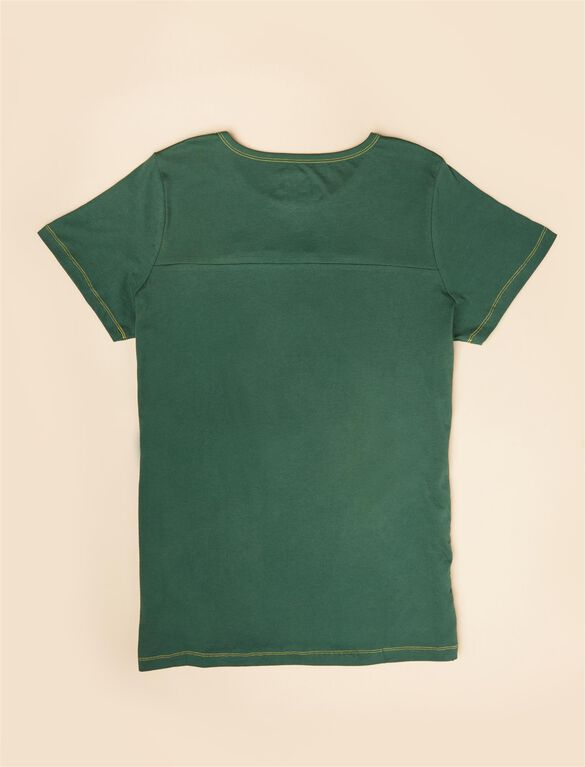 Plus Size Ruched Maternity T Shirt, Green Packers