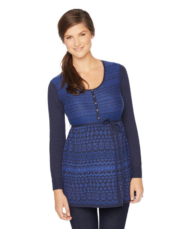 Babydoll Fairisle Maternity Tunic, Navy