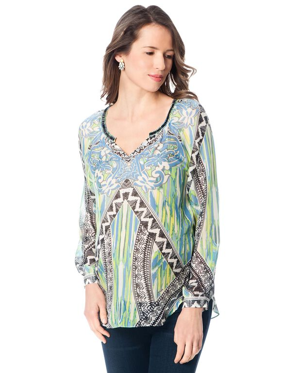 Beaded Detail Maternity Blouse, Multi Print
