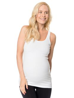 Rib Knit Maternity Tank Top, White